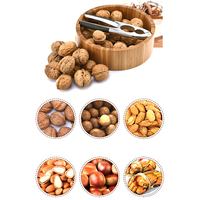 Multifunctional nut cracker aluminum alloy Pecan Walnut Nutcracker hazelnut almond Opener Tool with Bamboo Bowl for Kitchen home