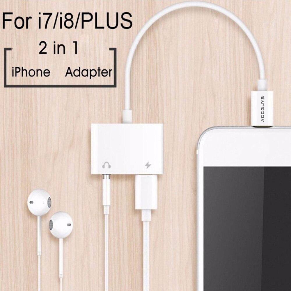 02583ad6cc3 2 en 1 divisor de adaptador de iluminación a auriculares de 3,5mm Jack  coche Aux Audio y carga para iPhone 7 8 Plus X iOS 11