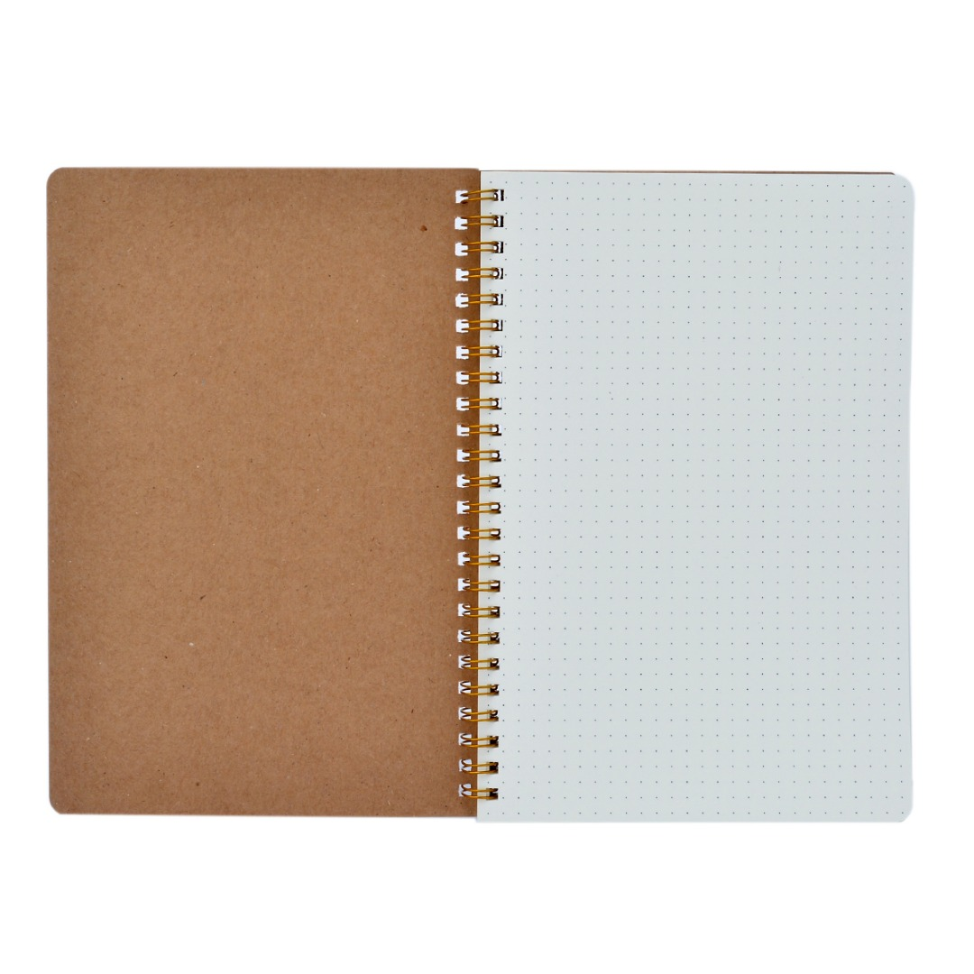 A5 Medium Dotted Grid Spiral Notebook 100 Pages Journal Notepad Cardboard Tan Cover Durable Book For Noting Signing
