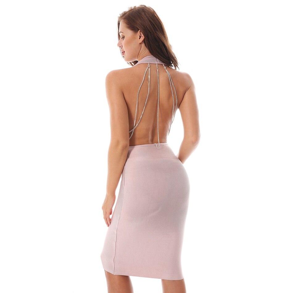 2018 Femmes Summer Genou De Sans Manches Robes Apricot Moulante Casual Soirée longueur Bandage Robe Sexy V Ciemiili Col New Plongeant PAwxtq5E