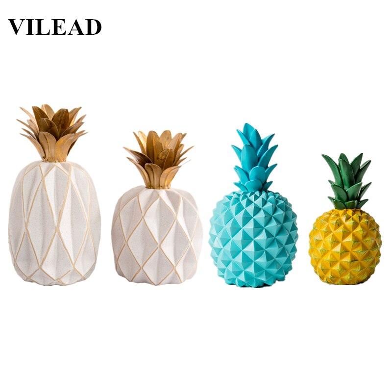 VILEAD 11 Colors Ceramic Resin Pineapple Figurines Enamel Pineapple Ornament Creative Fruit Crafts Home Docoration Accessories