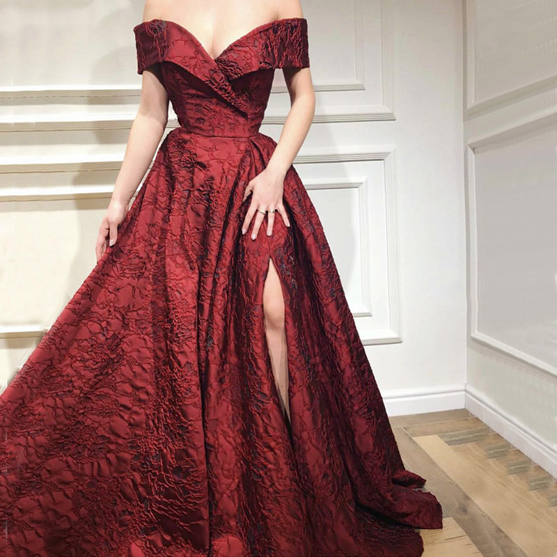 Gorgeous Long Off Shoulder Satin Formal Evening Dresses 2019 Elegant New Design Lace Prom Dress Party Gowns 2K19 robe de soiree