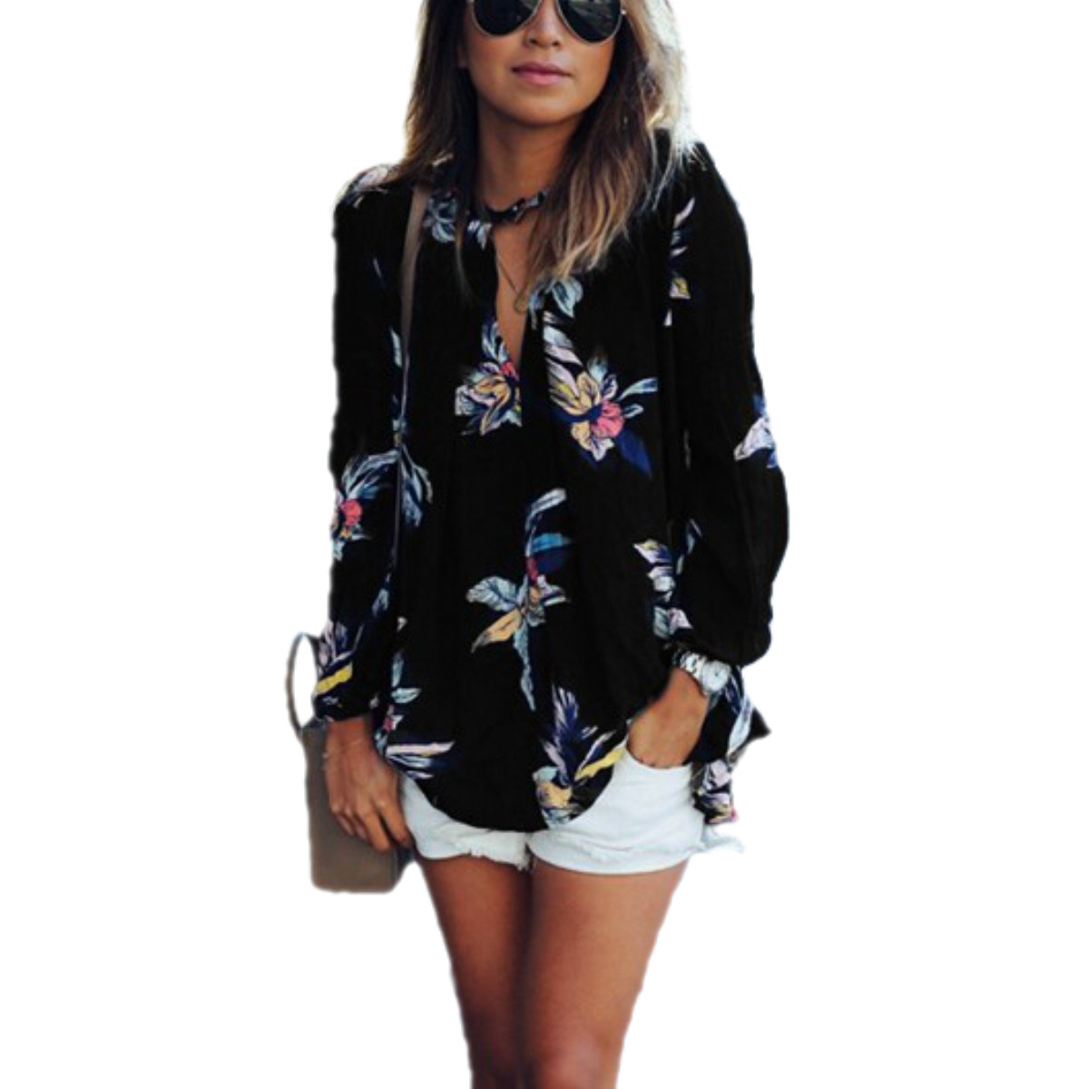 2016 New Fashion Street Women Blouse Floral Print Hollow Out Long Sleeve Shirt Brand Lady Sexy