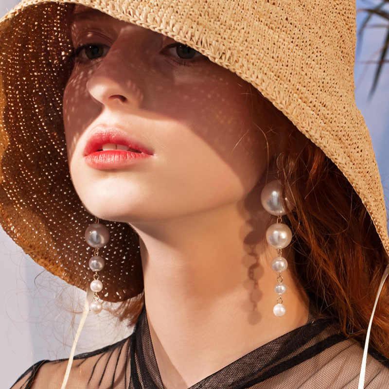 บัวใหม่แฟชั่น Charm สร้อยข้อมือไข่มุกยาวต่างหูผู้หญิง Drop ต่างหูสำหรับงานแต่งงาน Office Lad CE0538