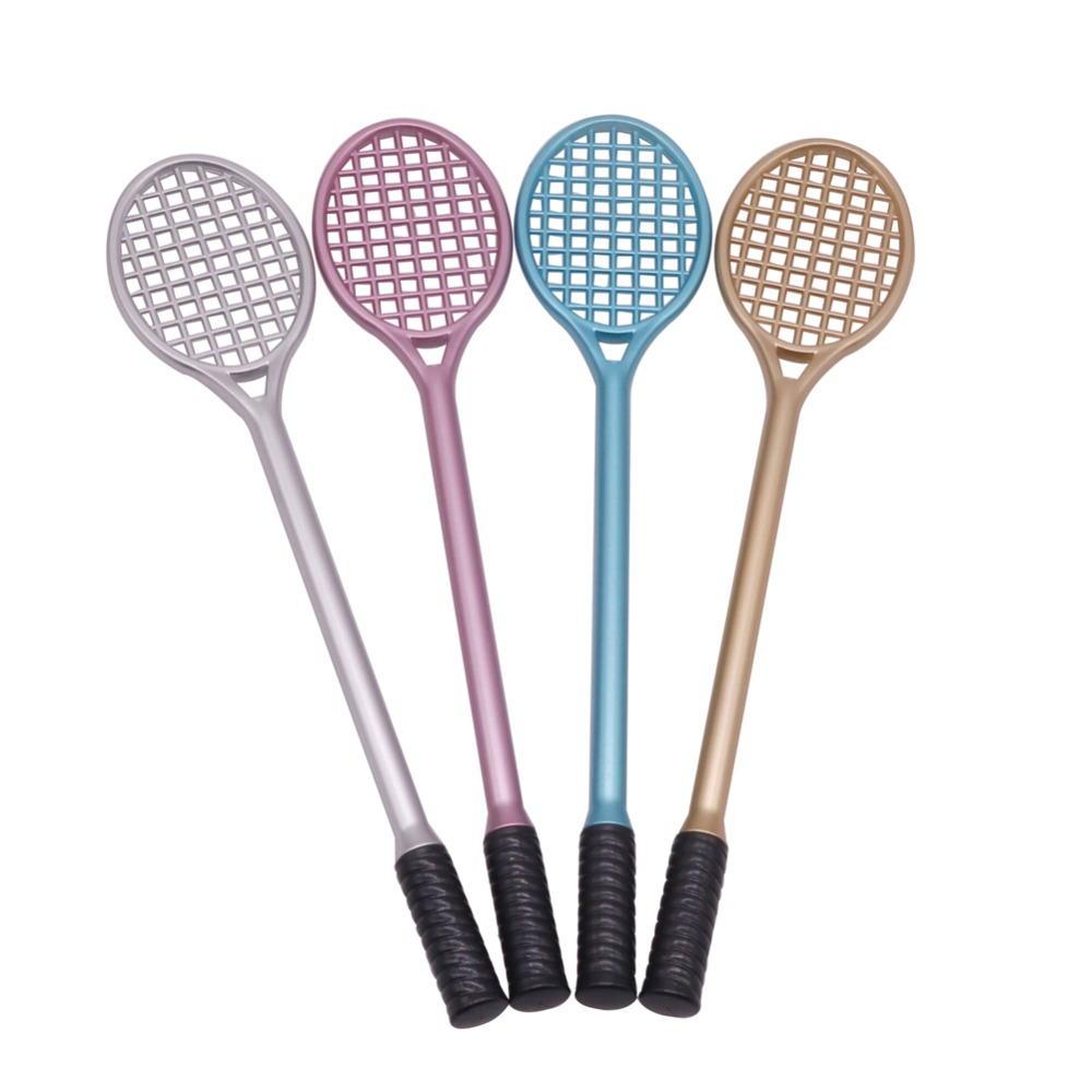 40 pcs The New Creative Lovely Tennis Rackets <font><b>Gel</b></font> <font><b>Pen</b></font> Plastic 4 Colors Black <font><b>Refill</b></font> Office Supplies <font><b>0.38</b></font> mm Gift Promotion <font><b>Pen</b></font> image