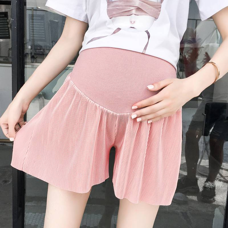 New pregnant women shorts pleated wide leg loose tide mother stomach lift skirt pants wear during summer wear