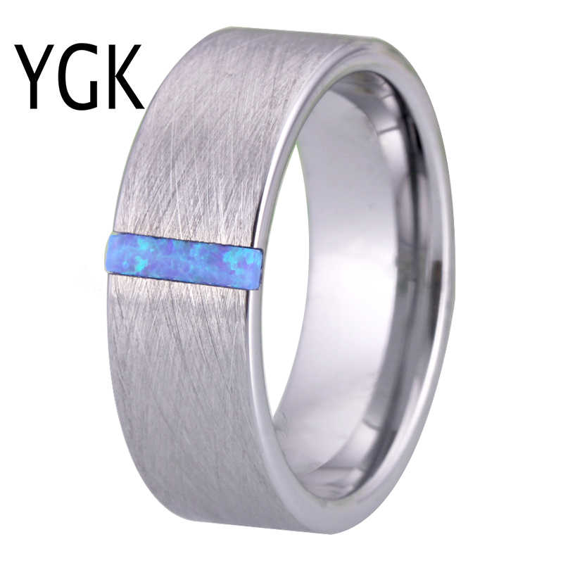 Classic Trouwringen voor Mannen Vrouwen Fashion Engagement Ring Zilver Geborsteld Met Opal Stone Anniversary Party Ring Bruids Sieraden