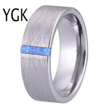 Klasik alyanslar erkekler kadınlar için moda nişan yüzüğü ile fırçalanmış Opal taş yıldönümü partisi yüzük gelin takı
