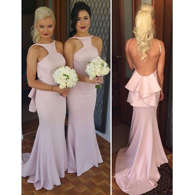 2016 Bridesmaid Dresses With Y Open Back And Peplum Custom Made Fuchsia Mint Green Long Gowns Under 100 In From