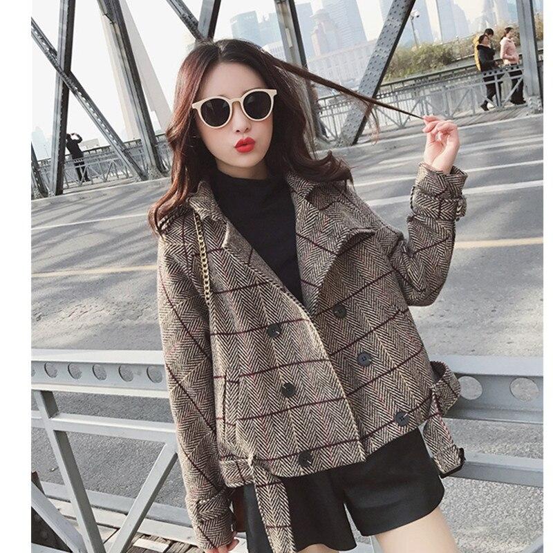 Mode Costume Loisirs Mince 2019 Manteau Automne À Femmes Courtes Longues Coréennes Élégante Manches Col Printemps Khaki vent Coupe Trenth Plaid gzqAwSEz