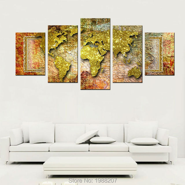 5 panels world map canvas painting golden abstract map picture 5 panels world map canvas painting golden abstract map picture printed on canvas wall art for gumiabroncs Choice Image