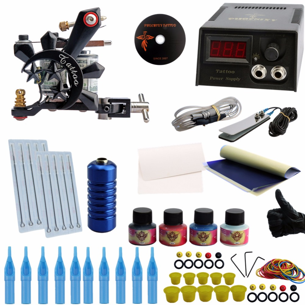 цена на Beginner Complete Tattoo Kit One Professional Tattoo Machine Kit Coil Machine Guns 4 Inks LCD Power Supply Needle Grips Set