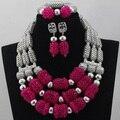 Горячий Продавать Африканский Свадебный Серебряный Mix Розовый/Оранжевый 3 строки Нигерии Коралловые Бусы Ювелирные Наборы Ожерелье Аксессуары Бесплатная Доставка CJ454