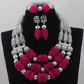 Hot Sell African Wedding Silver Mix Pink/Orange 3 rows Coral Beads Jewelry Sets Necklace Nigeria Accessory Free Shipping CJ454