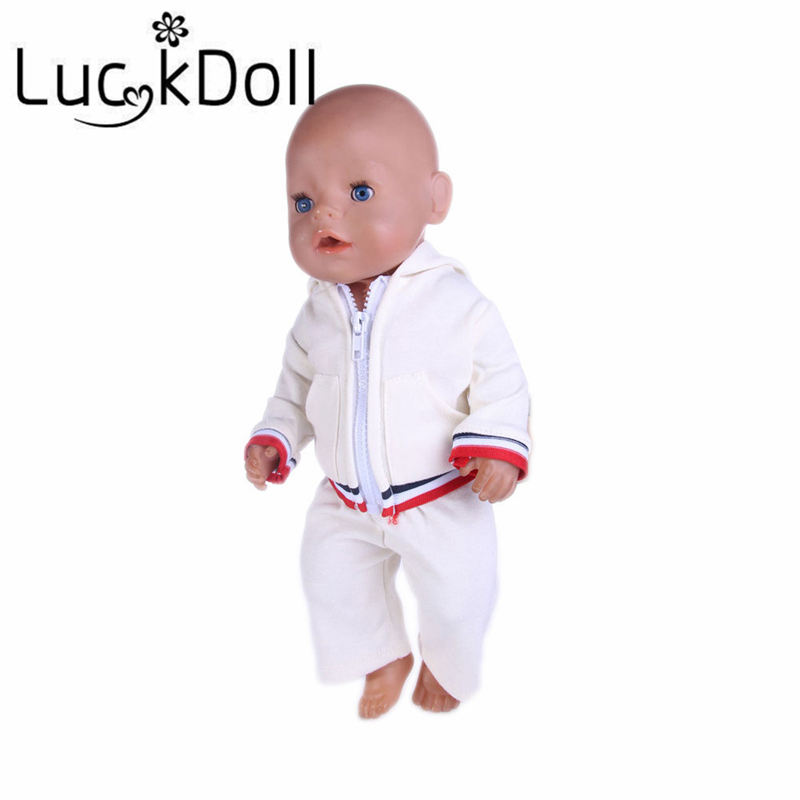 Luckdoll Sports Hoodie + Pants with Zipper for 18 inch American Girl Doll or 43 cm Baby Born Doll Accessories for Dolls