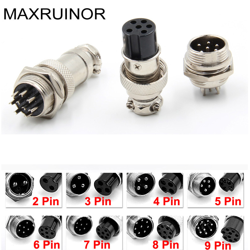 10 set  2/3/4/5/6/7/8/9 pin XLR Audio Cable Connector male and female  Panel Chassis Mount Kit  16mm 1pcs gx12 2 3 4 5 6 7 pin 12mm high quality male