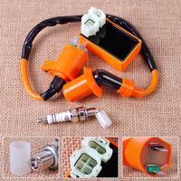 Racing Ignition Coil Orange 6 Pin CDI Box Spark Plug Fit For GY6 50cc 70cc 90cc