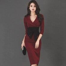 Alglam Doll 2018 Autumn 3 4 Sleeve Burgundy Vestidos Bowknot Knee-Length  Dress a1f80fa97