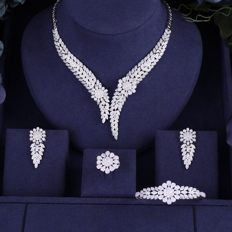 Accking  Luxury 4PCS Women Nigerian bangle Wedding Naija Bride Cubic Zirconia Necklace Dubai 4PCS Jewelry Set