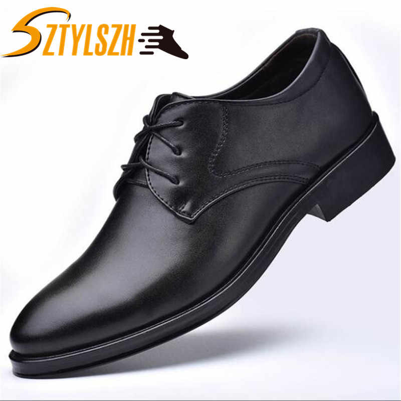 New Autumn Fashion Business Men Casual Shoes Leather High Quality Soft Men's Flats Retro British Style Dress Shoes size 38-45
