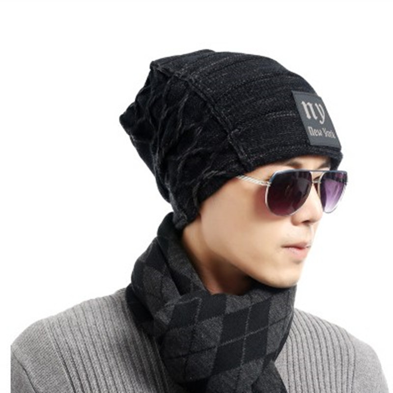 093e3376b 2018 Men's winter hat fashion knitted black hats Fall Hat Thick and warm  and Bonnet Skullies Beanie ...
