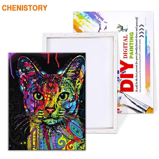 Chenistory красочные кошки diy живопись по номерам абстрактные