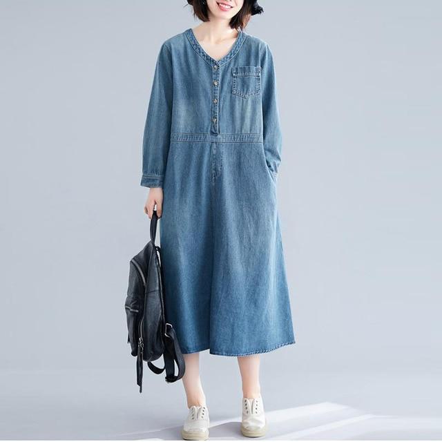 Johnature Autumn Korean Solid Color Patchwork Pockets V neck Cotton Jean Dress 2020 New Casual Vintage Long Sleeve Women Dresses
