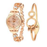 XINGE Watches Women Gold Rhinestone Bangle Watch And Bracelet Set 589R Wristwatch Bangle Bracelet reloj mujer saat New 17Jul19