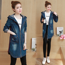 Fashion Vintage Ripped Jeans Hooded Long Denim Jackets