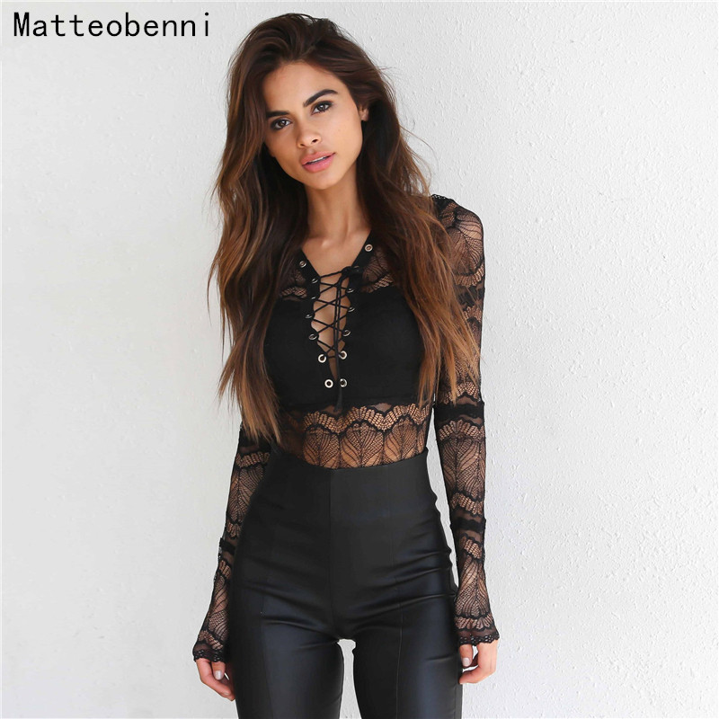 Sexy V-Neck Black Lace Bodysuit Women Mesh Long sleeve Jumpsuits Embroidery combinaison Ladies Body Shorts Playsuits body femme