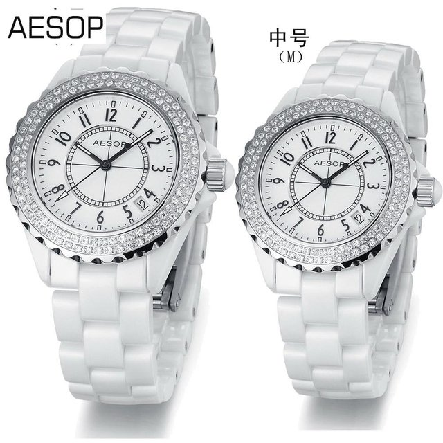 AESOP Black Ceramic Watch Crystal Watches for women couple gift Fashion Diamond dial free shipping top quality 9906