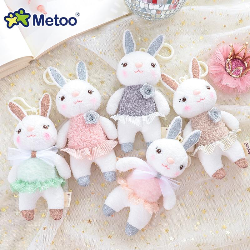 Metoo Puppe Stofftiere Plüsch Tiere Weiche Baby Kinder Spielzeug für Kinder Mädchen Jungen Kawaii Mini Angela Kaninchen Anhänger Keychain