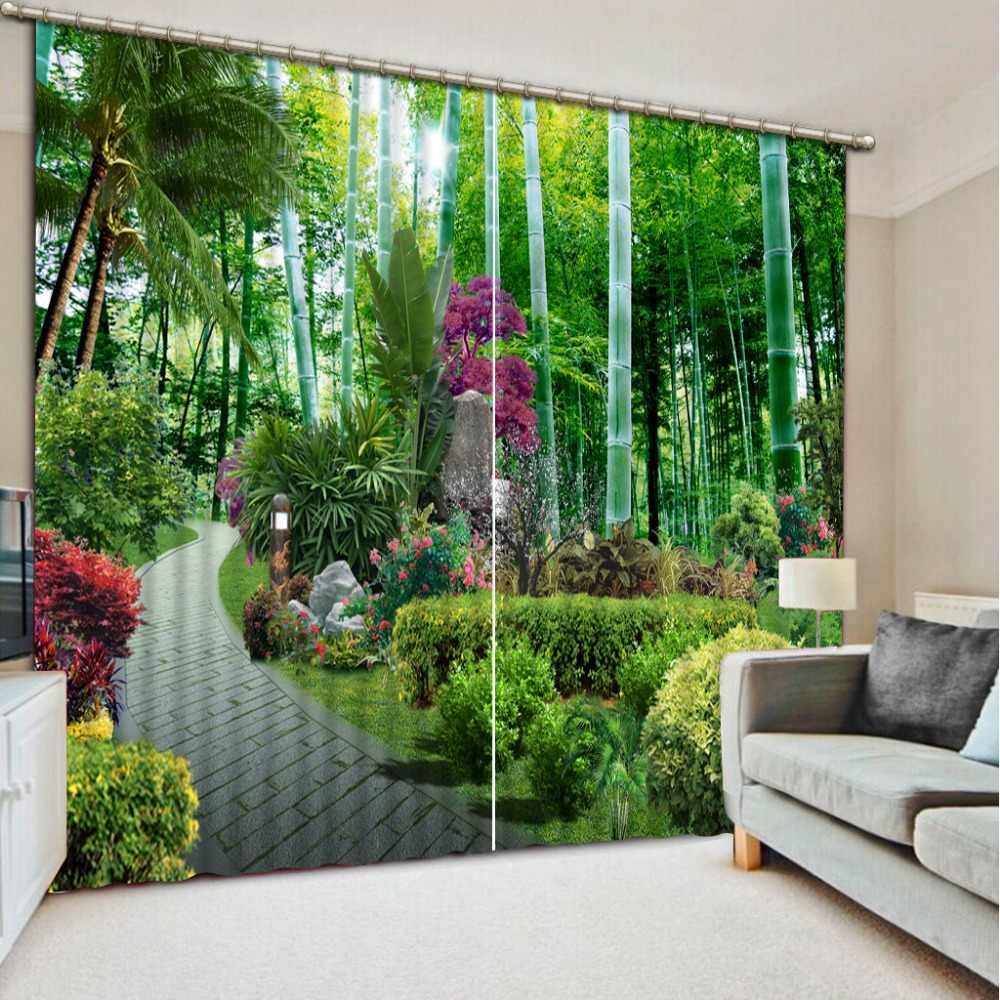 bedroom blackout curtains green forest 3d curtain home ddecorative home decor