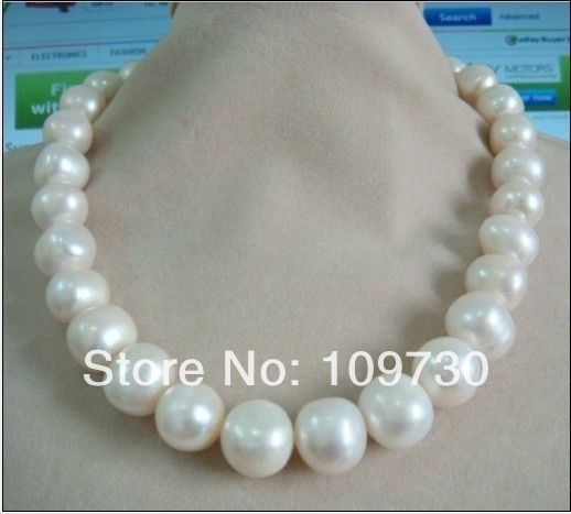 Jewelry 002496 12 15mm natural Australian south sea white pearl necklace