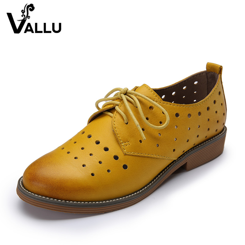 2018 VALLU Äkta Läder Kvinnor Skor Brogues Flat Heels Runda Toes Snörning Upp Hollow Out Handgjorda Skor Ladies Oxfords