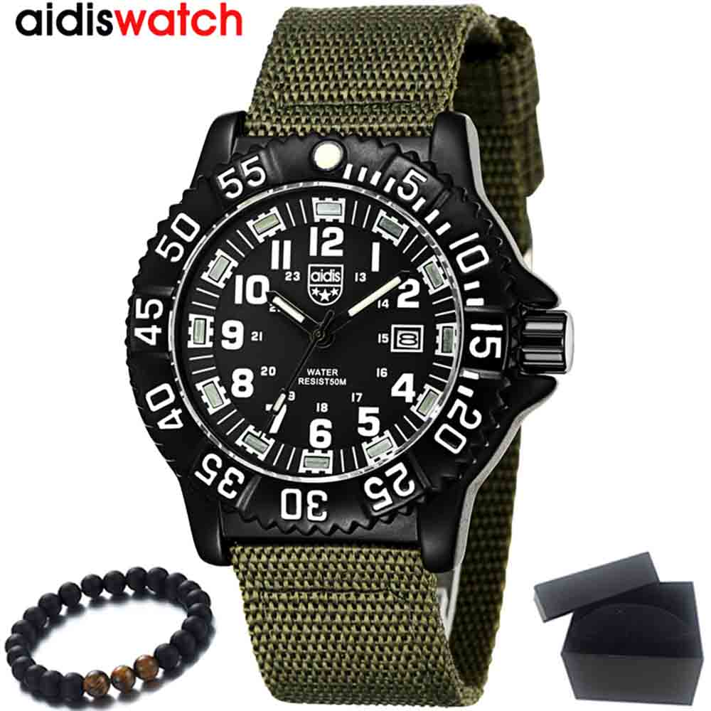 цена на New Men Watches Fashion Nylon Canvas Fabric Strap Military Army Green Watch For Men Male Quartz Wristwatch Luxury Brand Watch