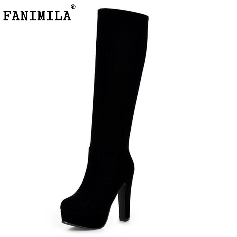 ФОТО size 32-45 women high heel over knee boots stiletto winter snow boot warm botas sexy brand masculina footwear shoes P19955