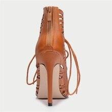 TINGHON  Summer Gladiator Sexy Women Peep toe pumps Hole hollow Cross Strap stiletto sandals Thin high heels shoes woman
