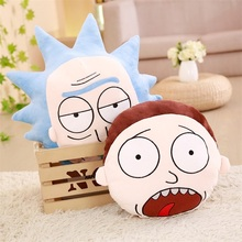 hot deal buy wholesale cartoon rick and morty feather cushion cute cartoon pillow anime toy baby kids sleep appease doll birthday/xmas gift