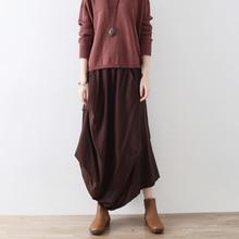 2018 New Vintage Women Long Skirt Fluid Original Design Linen Bust Skirt All match Female Irregular