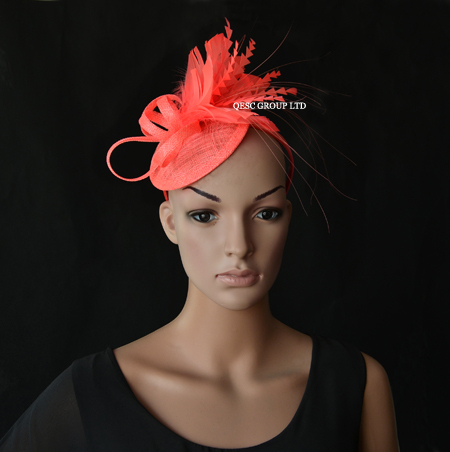 NEW CORAL PINK Sinamay fascinator bridal fascinator for kentucky derby wedding and party .