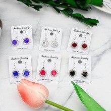 New geometric Rhinestone Cartoon Kawaii earring Cubic Zirconia Colorful Enamel Crystal Zircon jewelry Ear clip for lady