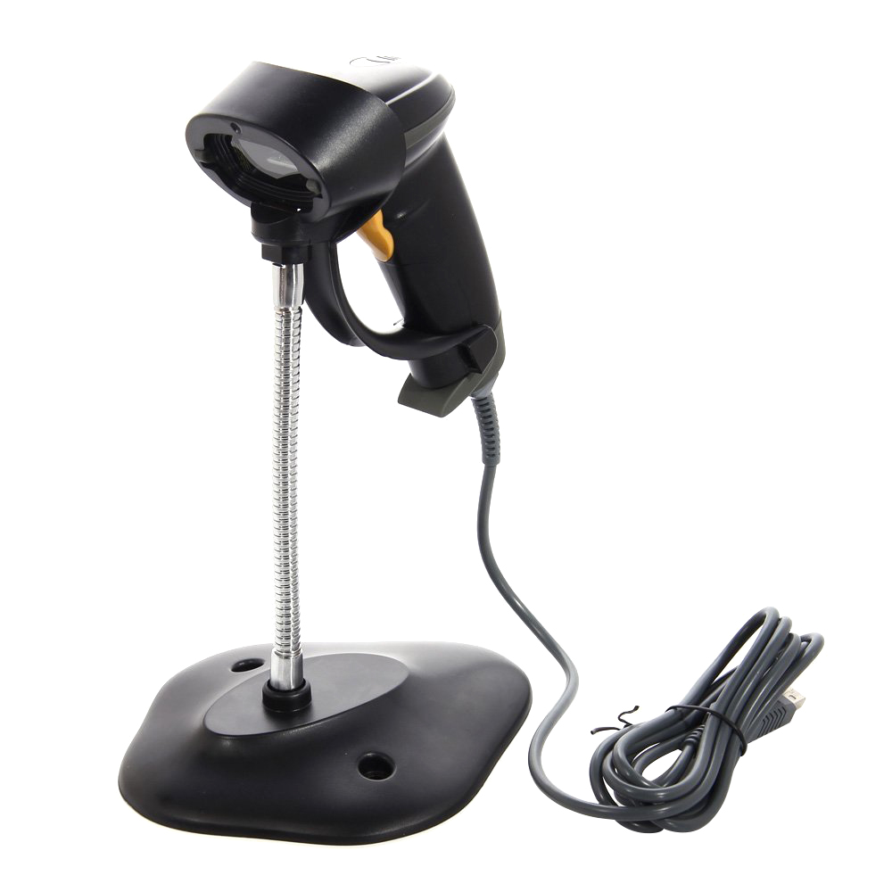 Long Laser USB Port Handheld Barcode Scanner Bar Code Reader UPC EAN Scanning with Hands Free Adjustable Stand