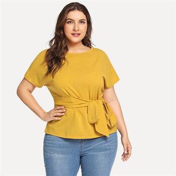 Ginger Casual Belted O Neck Raglan Short Sleeve Plus Size Women Blouses