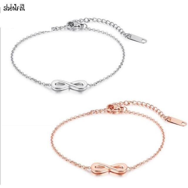 1c0cdfea € 6.34 |Nueva moda de acero/oro rosa pulsera infinito para las mujeres  encanto Acero inoxidable número 8 Link cadena pulseras joyas bijoux en ...
