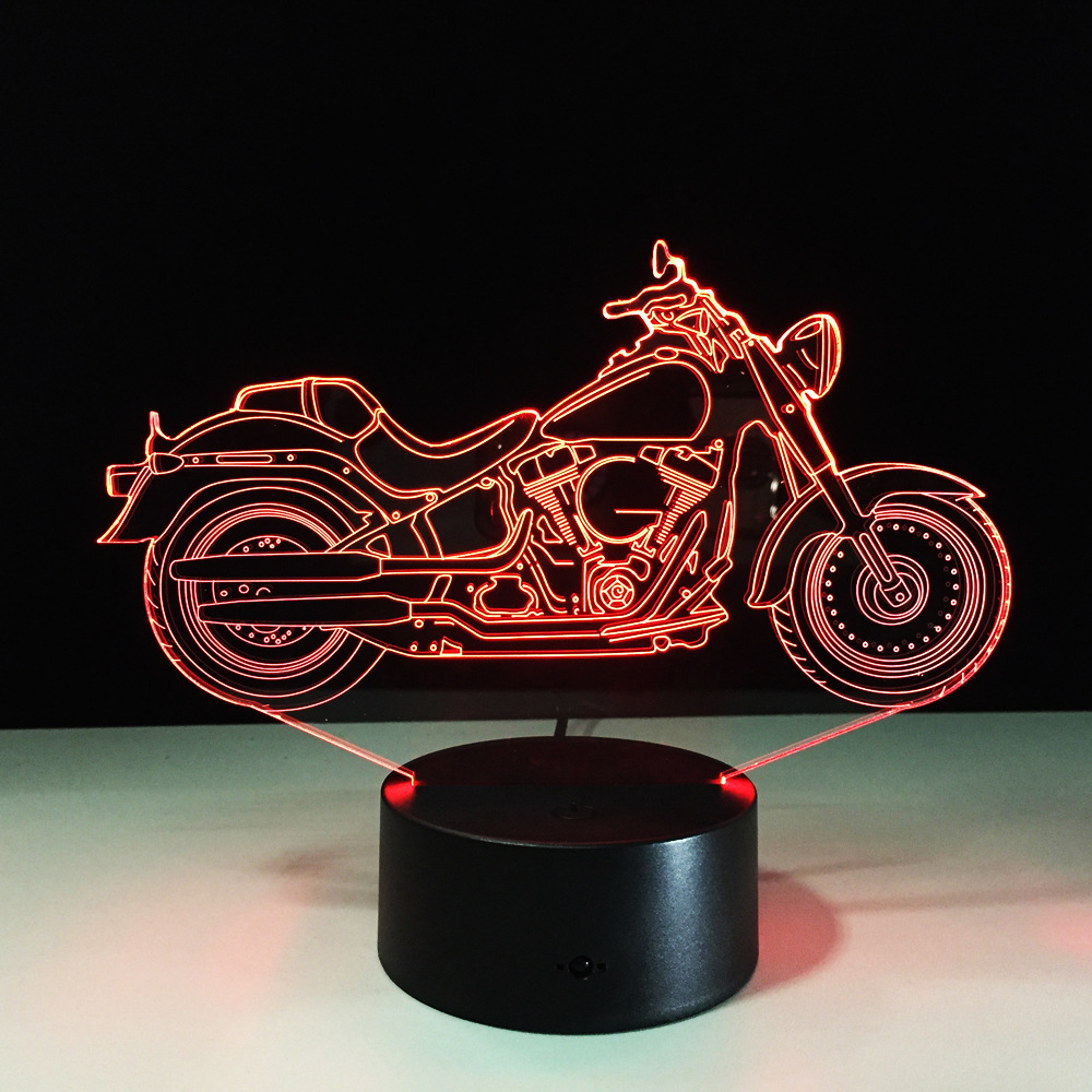 Free Shipping 1Piece 3D Design Motorcycle Shape Night Light Home Decoration Color Changing Atmosphere Lamp With