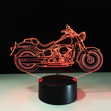 Free Shipping 1Piece 3D Design Motorcycle Shape Night Light Home Decoration Color-Changing Atmosphere Lamp With USB Charger