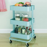 DE New Kitchen Trolley 3 Layers Office Cart Rolling Storage Rack Workshop Trolley With Four Wheels Portable Tool Storage Cart