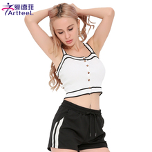 Summer Woman Slim Knitted V-Neck Camisole Strappy Tank Top Casual Backless Button Women Tops Sexy Sleeveless Cropped Camis Vest