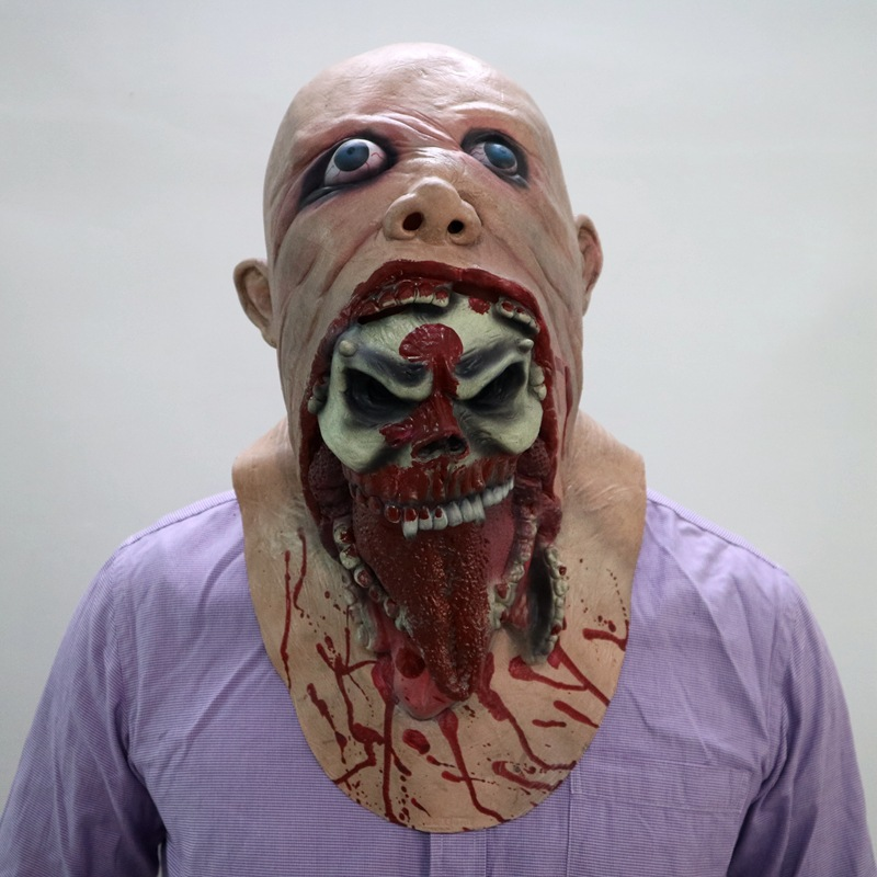 Full Face Melting Zombie Bloody Horror Adult Latex Scary Halloween Mask Costume Party Carnival  Cosplay Prop